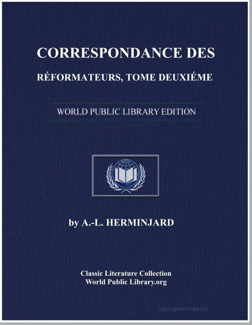 correspondance des réformateurs, dans les pays de langue ...