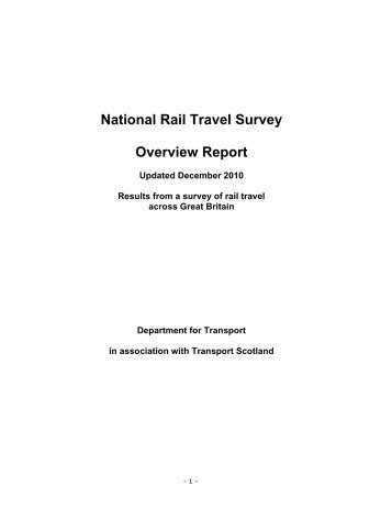 National Rail Travel Survey - Overview Report - Gov.uk