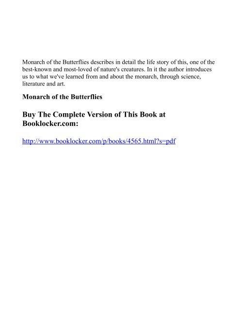 Monarch of the Butterflies - The Book Locker
