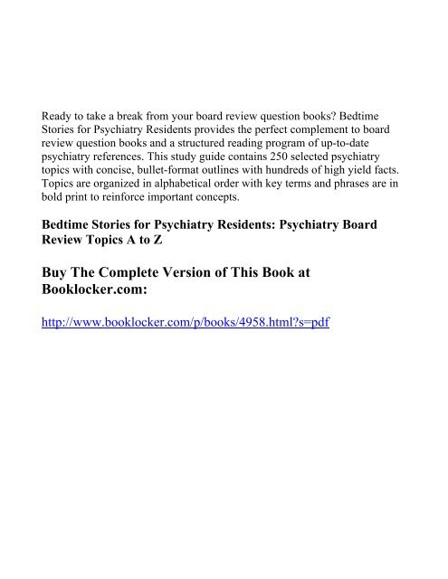 Bedtime Stories for Psychiatry Residents     - The Book Locker