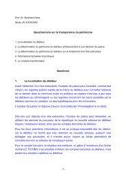 - 1 - Questionnaire sur la transparence du patrimoine Questions 1 ...