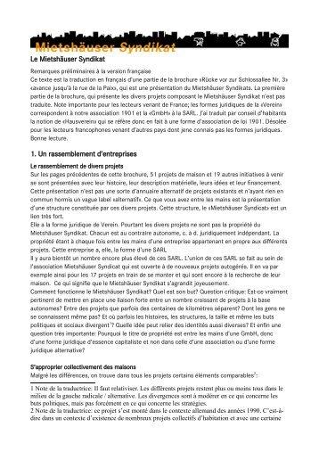Mietshäuser syndikat - fr - PDF - Réseau Habitat Groupé