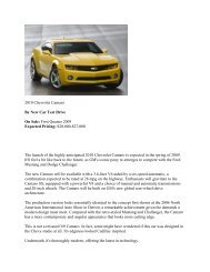 2010 Chevrolet Camaro By New Car Test Drive On Sale: First ...