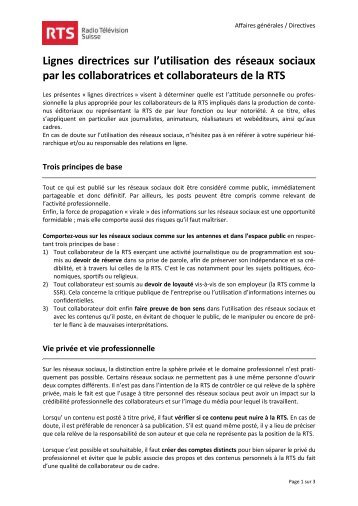 Lignes directrices sur l'utilisation des réseaux sociaux par les ...