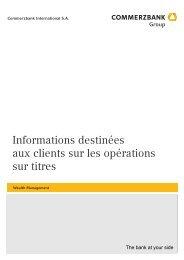 Informations destinées aux clients sur les opérations sur titres