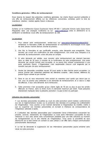 Conditions générales – Offres de remboursement ... - Epson Europe