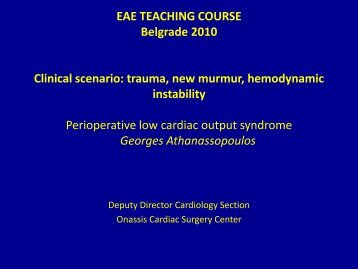 Perioperative low cardiac output syndrome