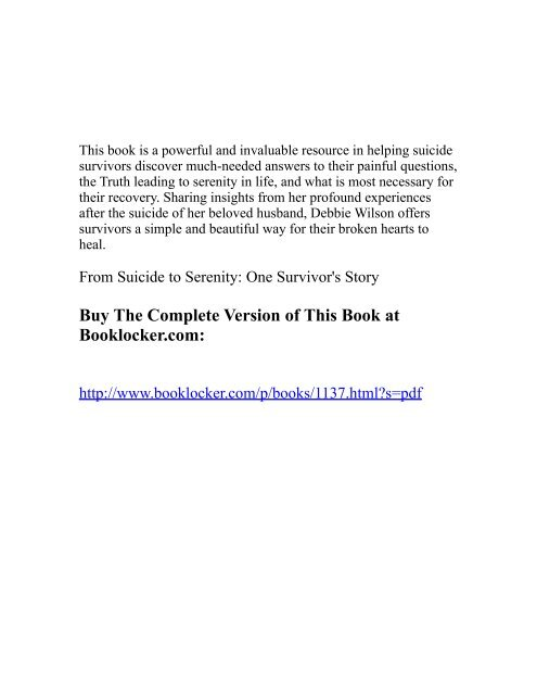 From Suicide to Serenity: One Survivor's Story - The Book Locker