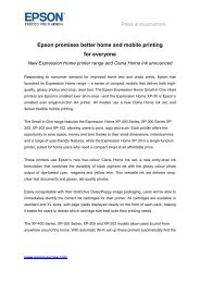 Epson promises better home and mobile printing for ... - Epson Europe