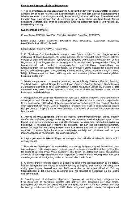 vilkår og betingelser - Epson Europe