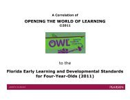 Florida Early Learning and Developmental Standards - Pearson