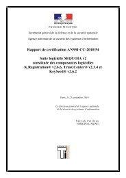 Rapport de certification ANSSI-CC-2010/54 Suite logicielle ...