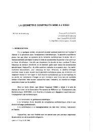 LA GEOMETRIE CONSTRUITE MISE A L'ESSAI - IREM de Grenoble
