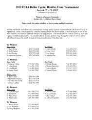 2012 USTA Dallas Combo Doubles Team Tournament - USTA.com