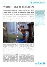 INFORMATION Wasser – Quelle des Lebens - Unicef