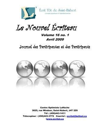 Volume 16, numéro 1 - L'Écritôt de Saint-Hubert