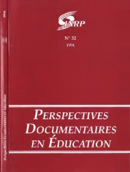 PERSPECTIVES DOCUMENTAIRES EN EDUCATION - INRP