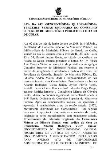 Sessão 643 - Ministério Público do Estado de Goiás