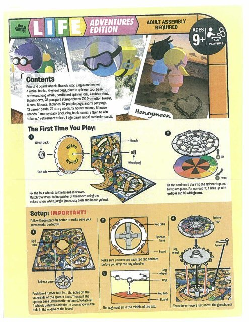Life Game Of Adventures Edition 09060 Instructions Hasbro