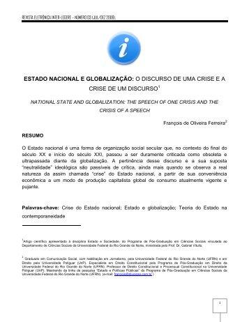 estado nacional e globalização: o discurso de uma ... - CCHLA/UFRN