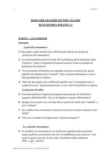 DOMANDE ED ESERCIZI PER L'ESAME DI ECONOMIA POLITICA I