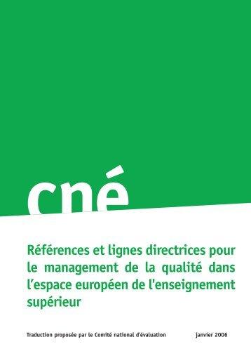 Références et lignes directrices pour le management de la ... - ENQA