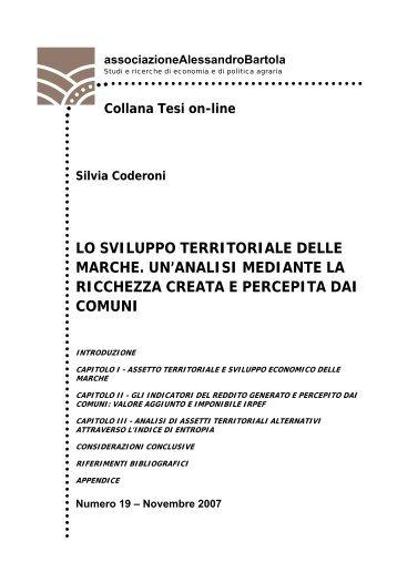 lo sviluppo territoriale delle marche. un'analisi mediante la ricchezza ...