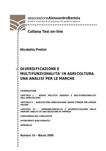 """Diversificazione e multifunzionalita - associazione """"bartola ..."""