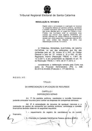 Resolução TRESC n. 7873/2012: Prestação de Contas