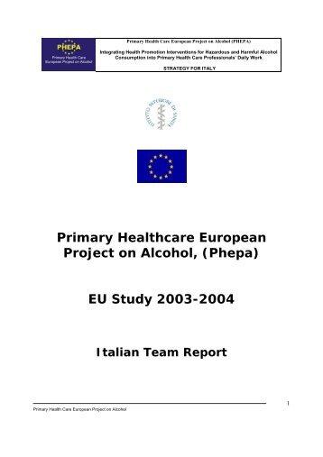 Primary Healthcare European Project on Alcohol, (Phepa) EU Study ...