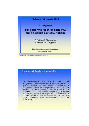 F. Arfini, C. Giacomini, M. Zuppiroli, M. Donati, L'impatto della riforma ...