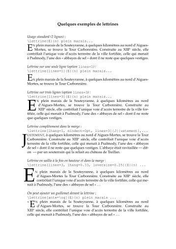 Quelques exemples de lettrines