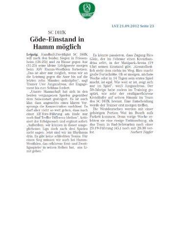 LVZ 21.09.2012 Seite 23 - SC DHfK Handball