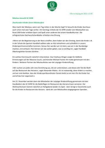 Pressespiegel 05.12. - SC DHfK Handball