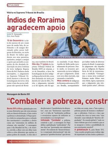 """""""Combater a pobreza, construir a paz"""" - Fátima Missionária"""