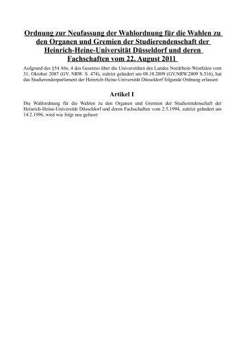 Wahlordnung - AStA - Heinrich-Heine-Universität Düsseldorf