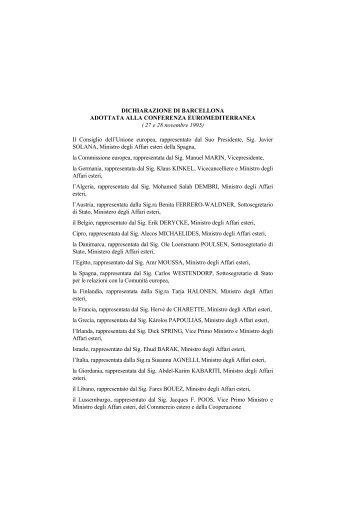 Dichiarazione di Barcellona adottata alla conferenza ...