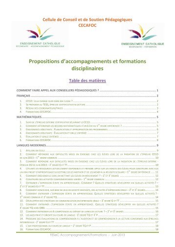 FESeC Accompagnement/Formations - SeGEC