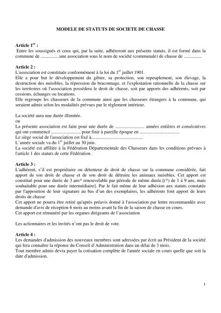 Modele De Statuts De Societe De Chasse Federation Regionale Des