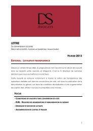 Lettre d'information en droit des sociétés - DS Avocats