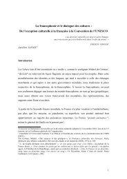 La francophonie et le dialogue des cultures€ - Commission franco ...