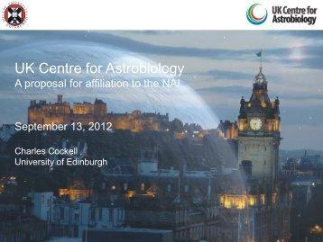Partnership Proposal presentation from UK Centre for Astrobiology