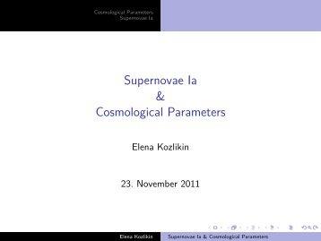 Supernovae Ia & Cosmological Parameters