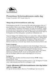 Pressrelease Kriterieauktionens andra dag - ASVT