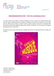 PROGRAMMATION FICEP - FETE DE LA MUSIQUE 2013