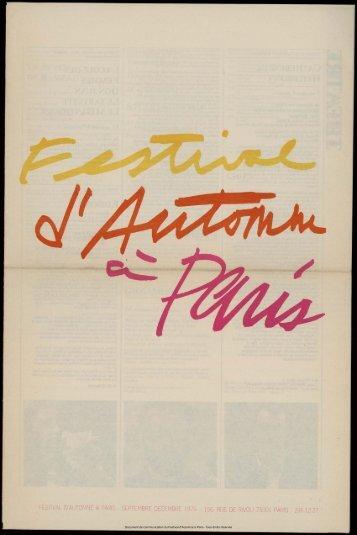 Programme général du Festival - Festival d'automne à Paris