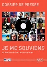 Dossier de Presse - Je Me Souviens - Institut Français Maroc