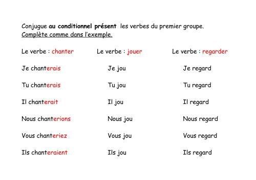 Conjugue Au Conditionnel Present Les Verbes Du Premier Groupe