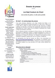 Les Sept Couleurs du Chant - L'Eglise catholique de Bruxelles