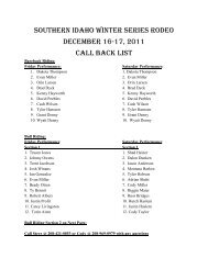 Southern Idaho Winter Series Rodeo December 16-17, 2011 Call ...